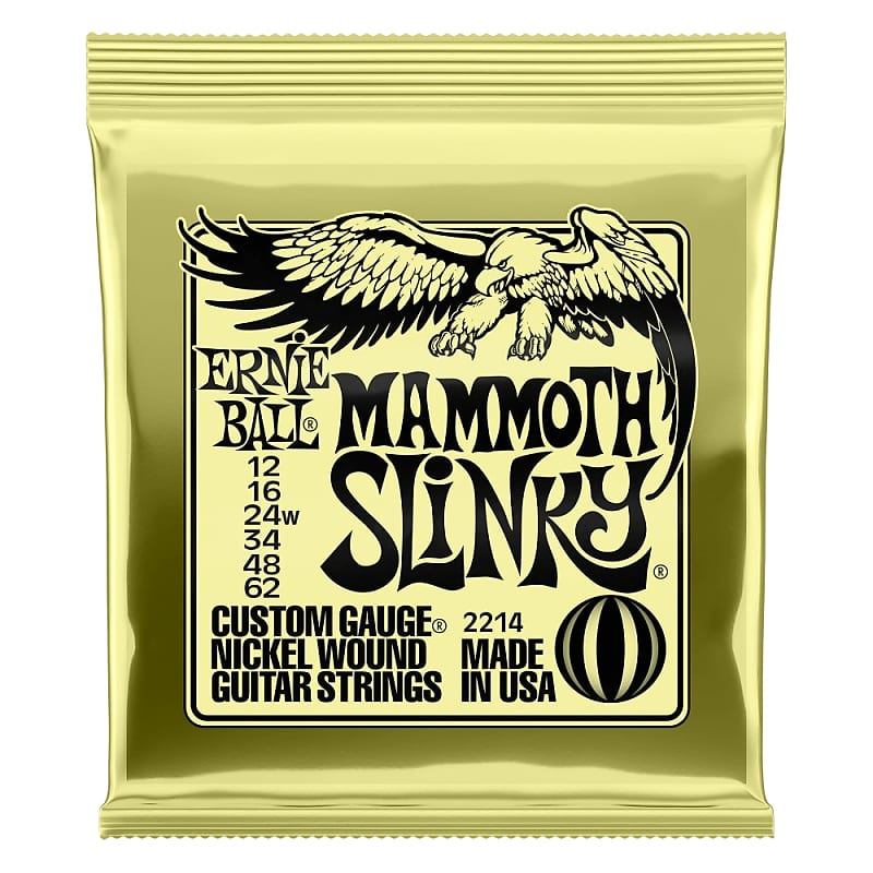 Ernie Ball Mammoth Slinky Nickel Wound Electric Guitar Strings 12-62 Gauge