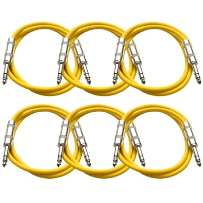 """SEISMIC AUDIO - 6 PACK Yellow 1/4"""" TRS 2' Patch Cables"""