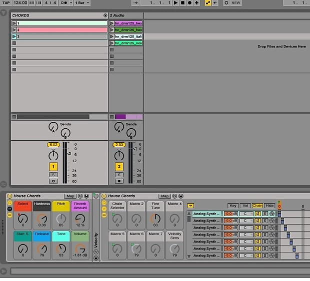 Ableton live 9 Instrument Rack, Chord / Pad Samples Mapped to Push