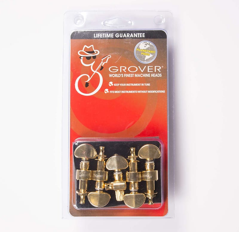Set of 5 Grover 124N5 Geared Banjo Pegs Nickel with Round Pearloid Buttons