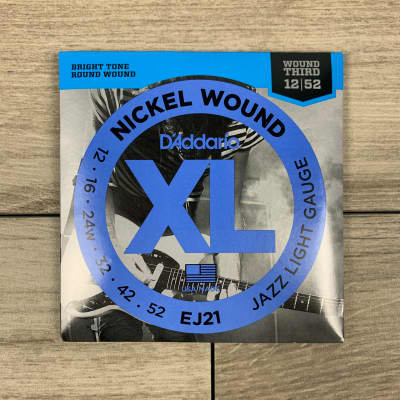 D'Addario EJ21 Nickel Wound Electric Guitar Strings, 12-52, (Wound Third) Jazz Light