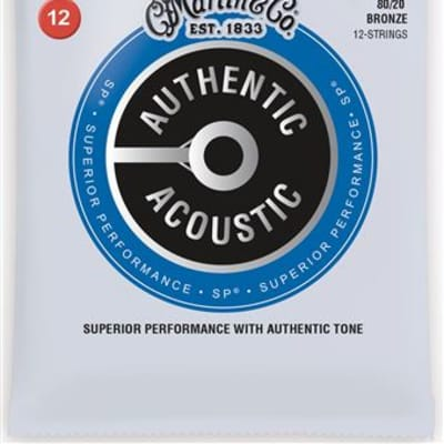 Martin MA190 Authentic Acoustic SP 80/20 12 String Guitar Strings