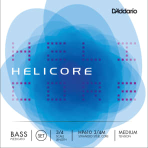 D'Addario HP610 3/4M Helicore Pizzicato Bass String Set - 3/4 Scale, Medium Tension