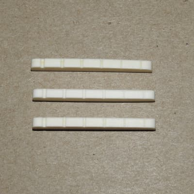 3 Pre Slotted Genuine Bone Nuts Flat Bottom 42mm Bleached For Fender Strat and Tele Guitars 3 Pack!