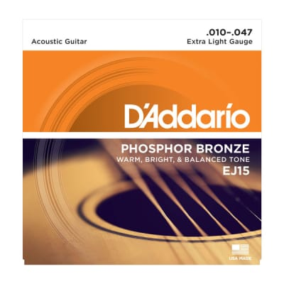 D'Addario Phosphor Bronze Acoustic Guitar String Set Extra Light Gauge 10-47