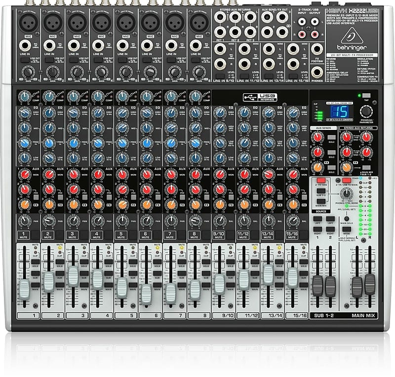 behringer x2222usb 22 input mixer with compressors effects reverb. Black Bedroom Furniture Sets. Home Design Ideas