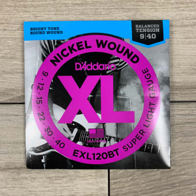 D'Addario EXL120BT Nickel Wound Electric Guitar Strings, 09-40, Balanced Tension Super Light Set