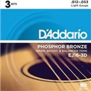 D'Addario EJ16 Acoustic Guitar Strings - Light - 3 Pack for sale
