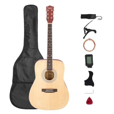 Glarry GT508 41in Solid Top Folk Acoustic Guitar Dreadnought Natural for sale