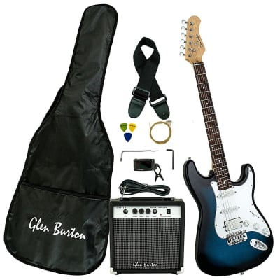 Glen Burton GE101BCO-BLS Solid Body ST-Style Electric Guitar Combo w/Gig Bag & Amplifier for sale