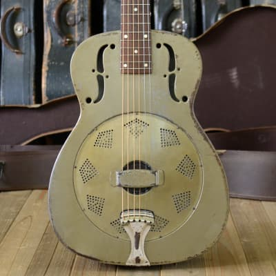 Vintage 1934 National Duolian resonator guitar, gold Duco finish with original cone & neck reset for sale