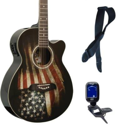 Oscar Schmidt OG10CE Cutaway Concert A/E Guitar, American Flag, Bundle for sale