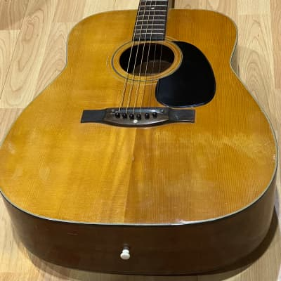 Estrada Deluxe F-604 Acoustic Guitar Made in Japan 1970s Natural w Black Binding Includes Case for sale