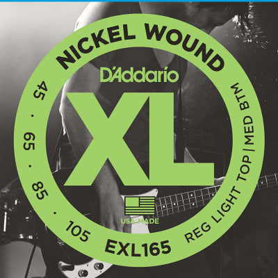 D'Addario EXL165 Nickel Wound Long Scale Bass Guitar Strings, Custom Light Top / Medium Bottom Gauge