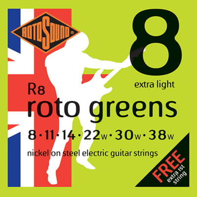 ROTOSOUND R8 ROTO GREENS EXTRA LIGHT GUITAR STRINGS 8-38 for sale