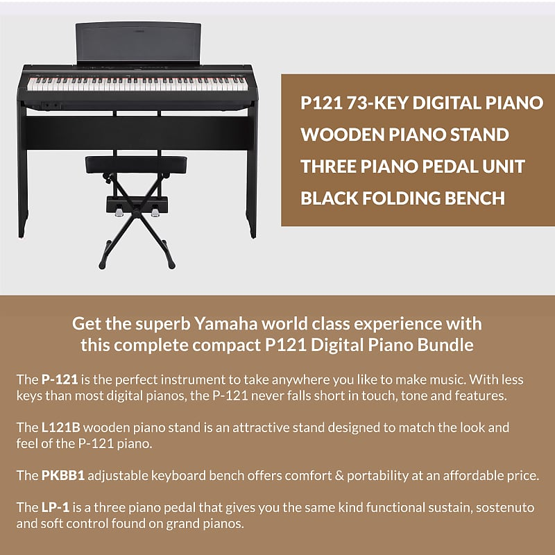 yamaha p121b 73 key weighted action digital piano w matching reverb. Black Bedroom Furniture Sets. Home Design Ideas