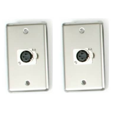 2 OSP stainless steel duplex wall plate with 1-XLR connector