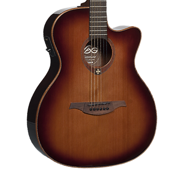 Lag T100ace Brs Tramontane Acoustic Electric Guitar Brown Reverb