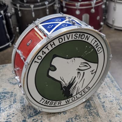 """Premier  12x28"""" Vintage Marching Bass Drum Red/Blue"""