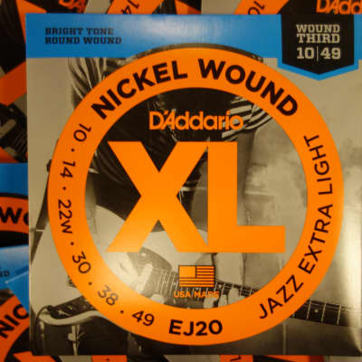 D'Addario EJ20 Jazz Extra Light 10-49 Nickel Wound ( 10 Pack)