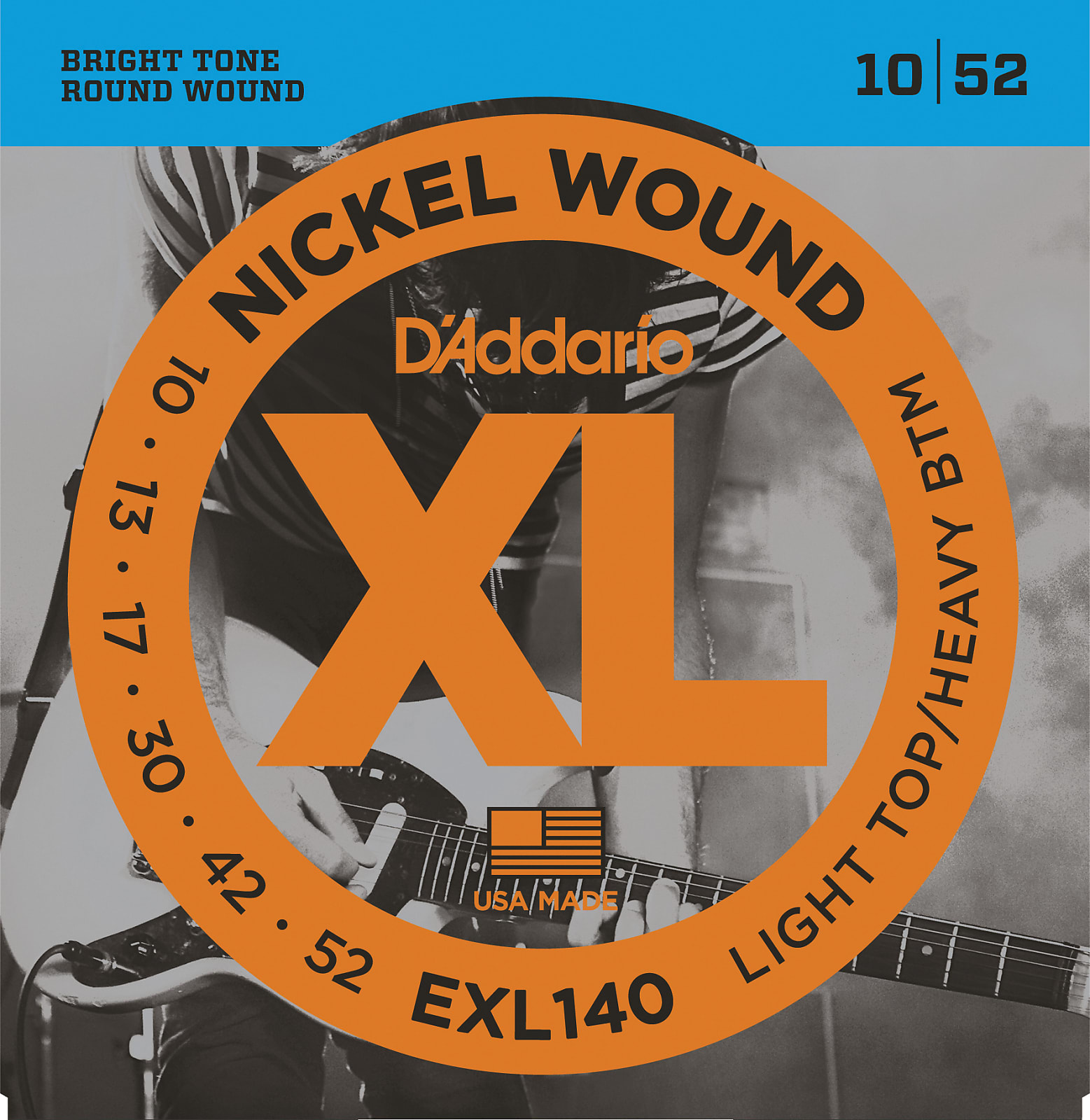 D'Addario EXL140 Nickel Wound Electric Guitar Strings, Light Top/Heavy Bottom,