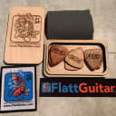 US made mahogany, maple and mango wood picks with laser engraved box and patch