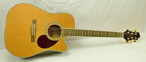 Samick D8ce Acoustic Electric Guitar With Deluxe Hard Shell Reverb