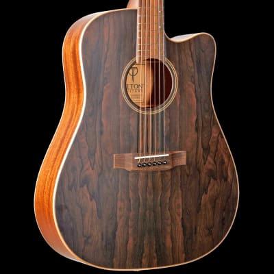 Teton STS000ZIGCE Dreadnought Acoustic-Electric Guitar ONLY, Gloss Ziricote Top,Satin Mahogany B&S