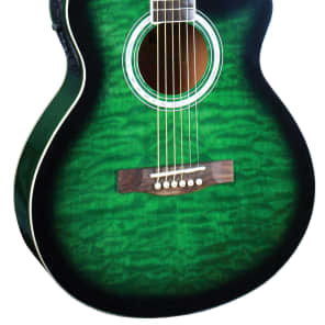 Indiana MAD-QTGR Madison Deluxe Concert Cutaway 6-String Acoustic-Electric Guitar - Quilt Green for sale