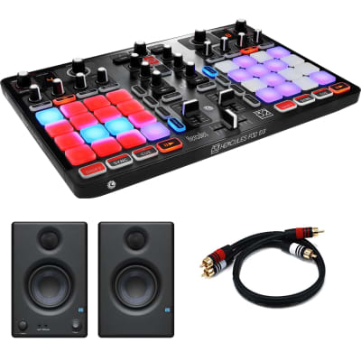 "Hercules P32 DJ Controller with High Performance Pads + PreSonus Eris E3.5 3.5"" 2-Way 25W Nearfield Monitors (Pair)  and RCA Cable"