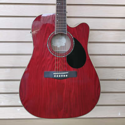 Used Samick D-4CE/TR Red Greg Bennett Design Acoustic/Electric Dreadnought Cutaway Guitar for sale