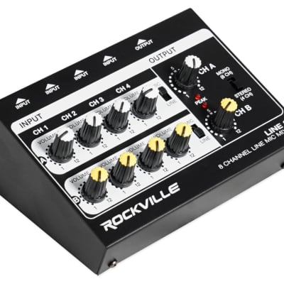 Rockville LINE8 8 Channel Line/Mic Mixer/Stereo/Mono/Battery Operated/Adapter