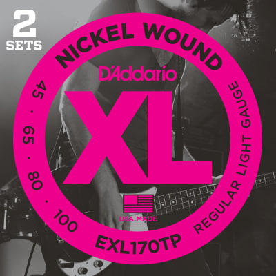D'Addario EXL170TP Nickel Wound Light Bass Guitar Strings 45-100 Long Scale 2-Pack