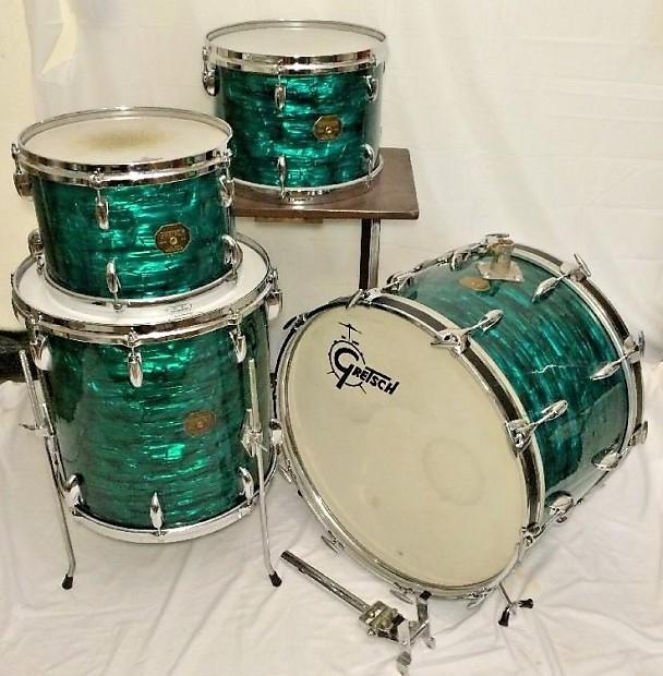 rare vintage gretsch drum set emerald green reverb. Black Bedroom Furniture Sets. Home Design Ideas
