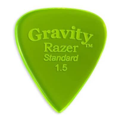 Gravity Picks Razer Standard Polished Pick, 1.5mm, Florescent Green
