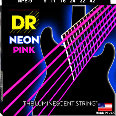 DR Strings NPE-9 NEON Hi-Def Pink Coated Electric Strings - Lite, 9-42 for sale
