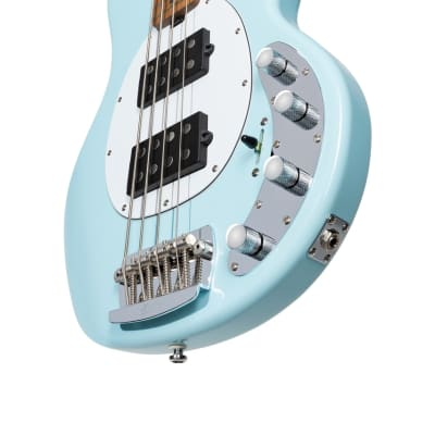 Sterling by Music Man StingRay HH Daphne Blue/Roasted Maple Bass Guitar for sale