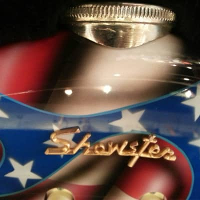 American Showster 'The Biker' NOS 1997 Flag Pattern NAMM show guitar for sale