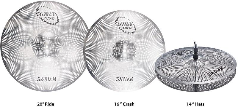 sabian quiet tone practice cymbals set qtpc503 with free reverb. Black Bedroom Furniture Sets. Home Design Ideas
