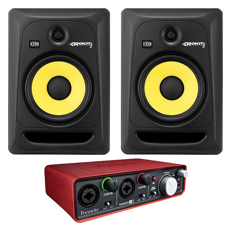 2 krk rokit rp8g3 8 speakers with focusrite scarlett reverb. Black Bedroom Furniture Sets. Home Design Ideas