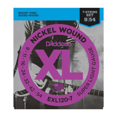 D'Addario EXL120-7 Super Light Gauge 9-54 Nickel Wound Electric Guitar Strings