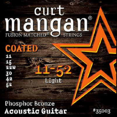 Curt Mangan 11-52 Phosphor Light Coated Acoustic Guitar Strings - 2 Packs - Free USA  Shipping