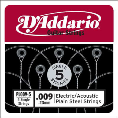 Daddario PL009-5 Single 5-Pack Single Plain Steel 009