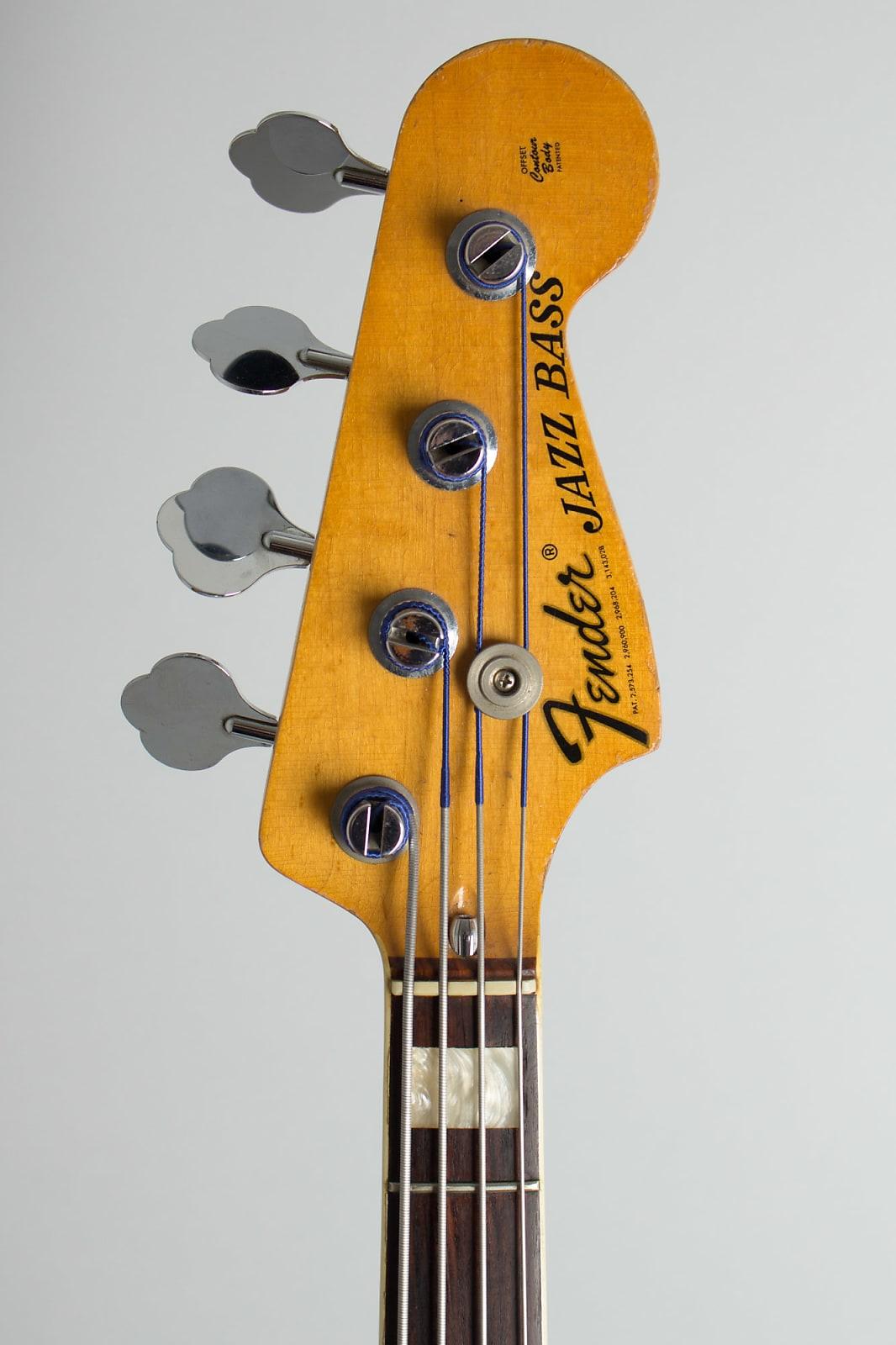 Fender  Jazz Bass Solid Body Electric Bass Guitar (1976), ser. #694649, black gig bag case.