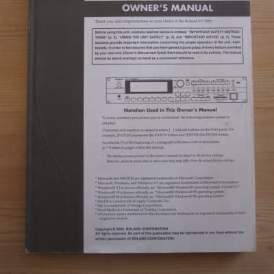 Roland XV-5080 owners manual guide instructional