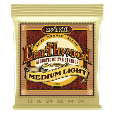 Ernie Ball P02003 Earthwood Medium Light 80/20 Bronze Acoustic Guitar Strings - 12-54 Guage