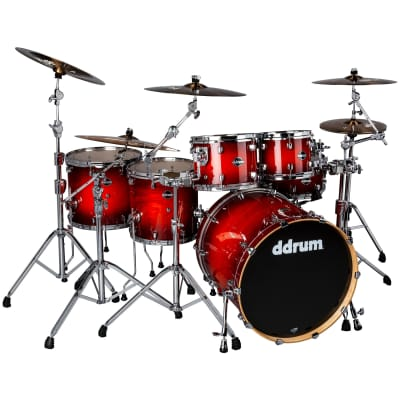 DDrum Dominion 622 6PC Birch Shell Pack Exotic Ash Veneer - Red Burst Lacquer