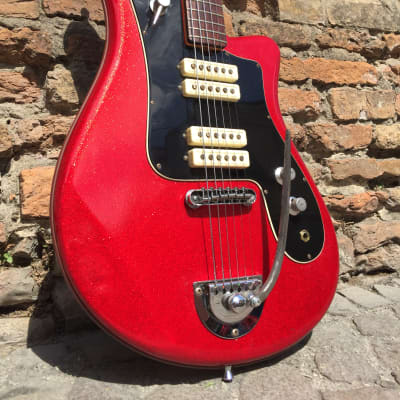 Bartolini 20V Sparkle red rare weird 60's guitar Italy for sale