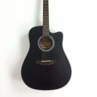 Haze Dreadnought Sapele Acoustic Guitar Black FA125SCBK for sale