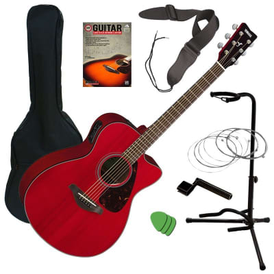 Yamaha FSX800C Acoustic Electric Guitar - Ruby Red GUITAR ESSENTIALS BUNDLE